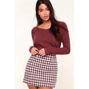NWT Lulu's Cream & Mauve Herringbone Mini Skirt